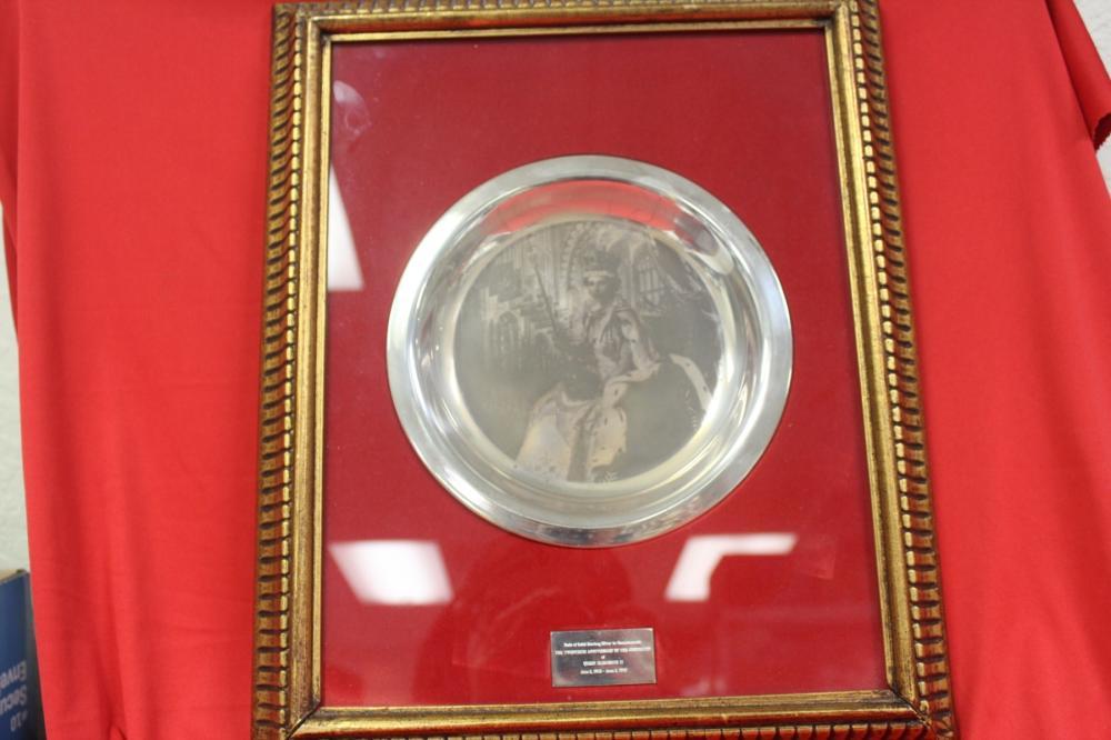 A Framed Sterling Silver Queen Elizabeth II. Plate/Bowl