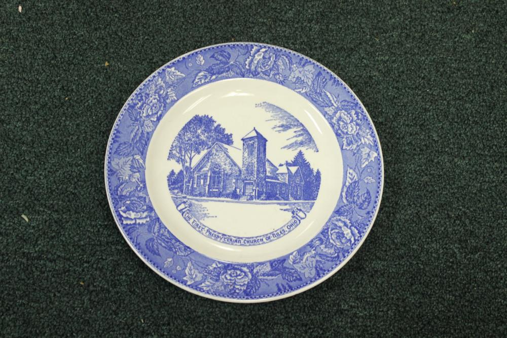 A Blue and White Flow Blue Style Plate