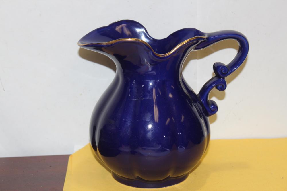 A Vintage Cobalt Blue Ceramic Pitcher