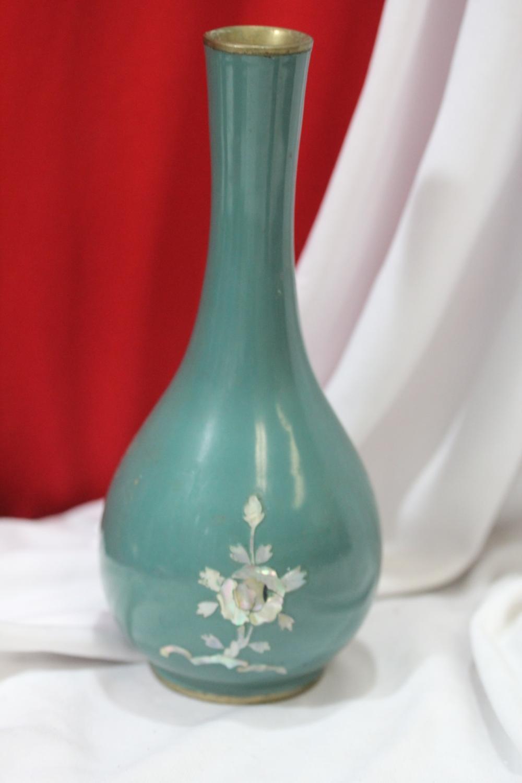 A vintage Korean Mother of Pearl Enamel Vase
