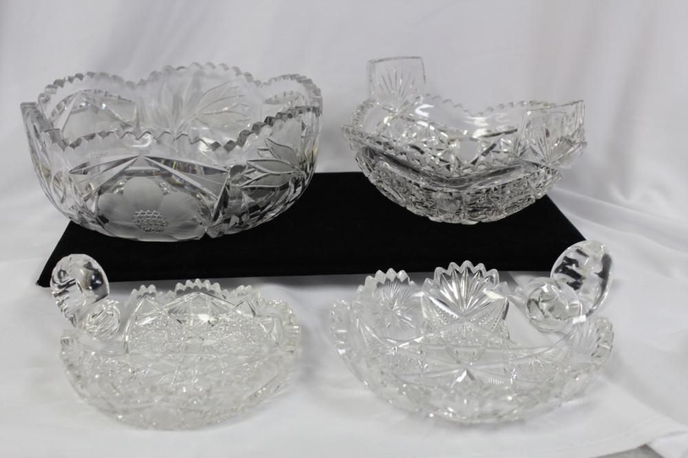 Lot of 4 Brilliant Cut Glass Articles