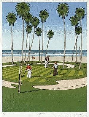 JAMES WILLEBRANT born 1950 Pacific Putt 1984 colour screenprint 71. 0x 55.0 cm edition: 43/100 numbered, titled, signed and dated below image