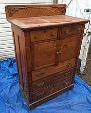 Oak Dresser, Antique, with Large Storage Cabinets