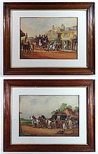 C. Clark XIX-XX Pair of watercolours Coaching