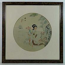 Japanese School Watercolour on silk, a tondo