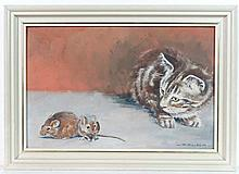 Gilda XX Oil on panel Kitten and two mice Signed