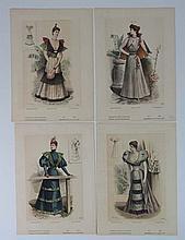 French Fashion Prints 4 hand coloured 1893 prints
