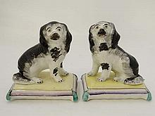 A pair of c. 1850 ' Spaniels on Bases ' with