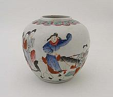 An early 20thC Chinese ginger jar with figure on