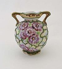 A 19thC pottery 2-handled vase painted with
