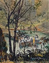 Beresford Johnson ( 1900-?) , Watercolour and Gouache, Figures playing at a