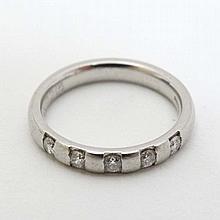 A platinum ring set with 5 diamonds