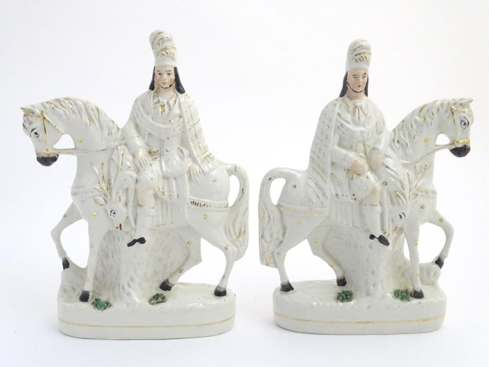 A pair of Victorian Staffordshire pottery flatback figures modelled as Bonnie Prince Charlie on hors