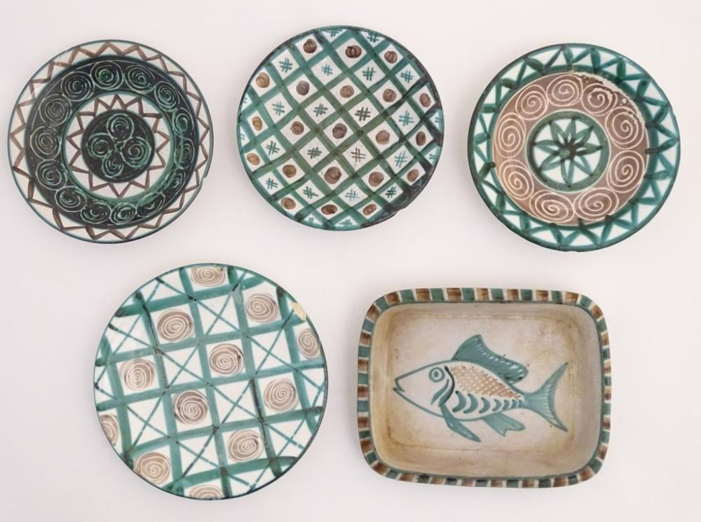 A quantity of Robert Picault Vallauris wares to include three hand painted dishes and a plate decora