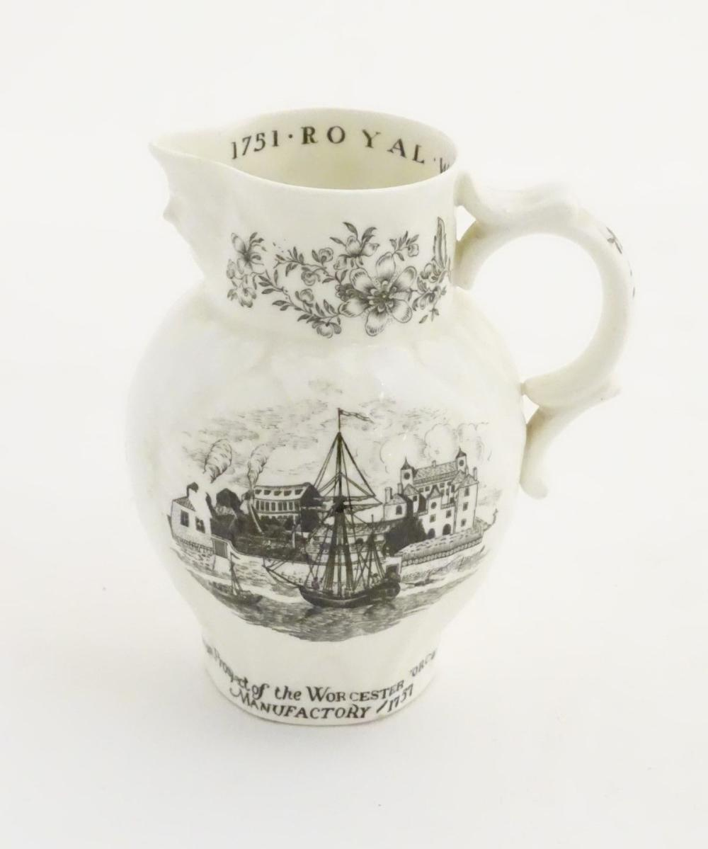 A Royal Worcester bicentenary, 1751-1951, commemorative jug, decorated with the west prospect of the
