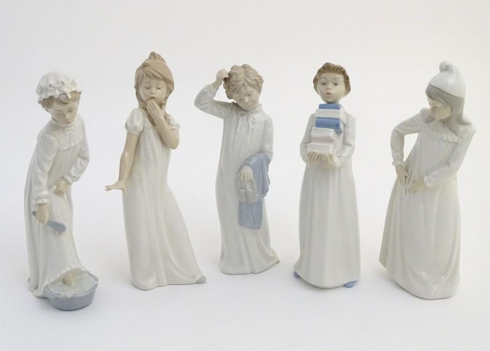 Five Nao figures to include 'Yawning Girl', model no. 230, 'Boy washing his feet' model no. 231, 'Bo