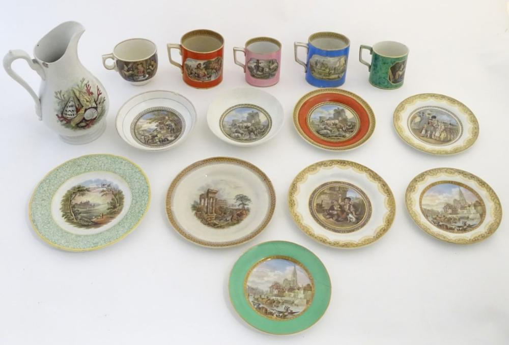 A quantity of Prattware items, comprising two large mugs, and a smaller mug decorated with rural sce