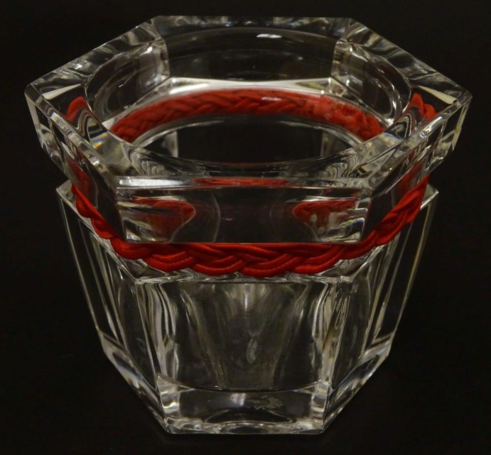 Ralph Lauren : a hexagonal clear glass small bowl with plaited red strung band , 2 3/4'' high x 3''