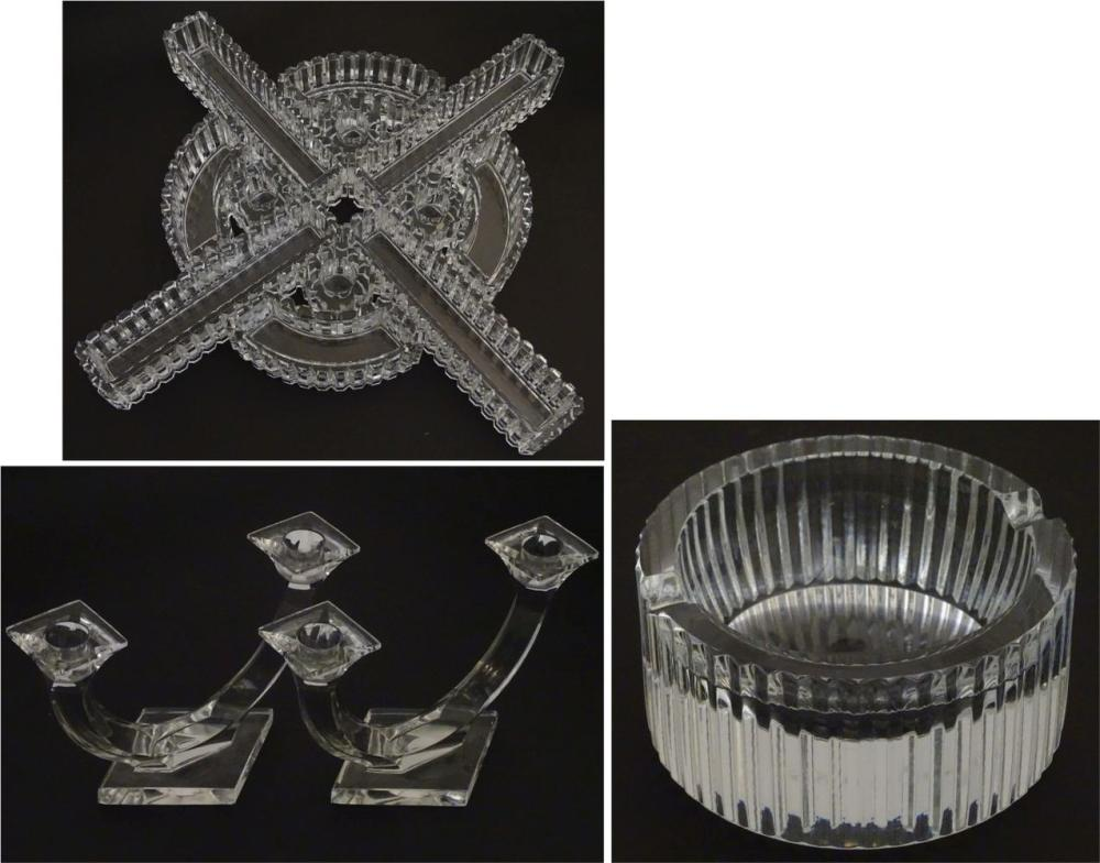 St. Louis: a table centrepiece to include; a pair of twin branch table candlabras, four ribbed candl