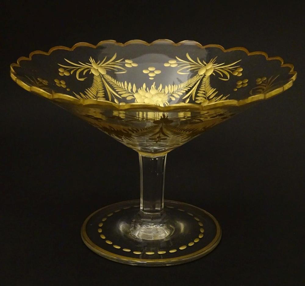St Louis : a pedestal tazza like bonbon dish with gilt decoration and an octagonal shaft, 4 1/4'' hi