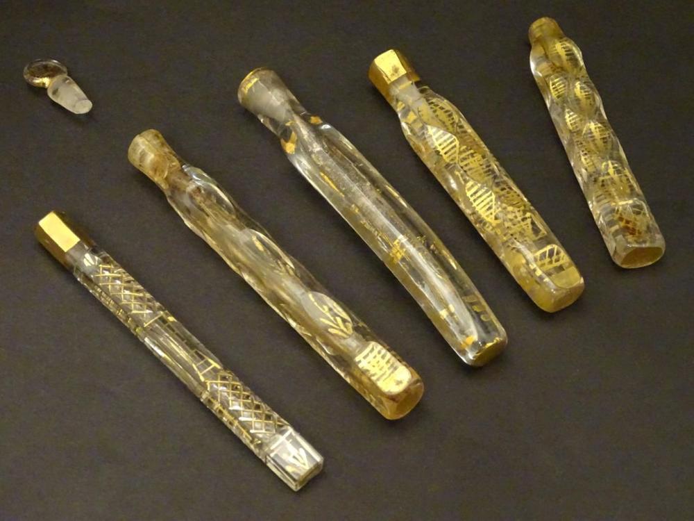 Haunton-Barron Scent Bottle Collection : a collection of five Georgian circa 1800 freeblown scent bo