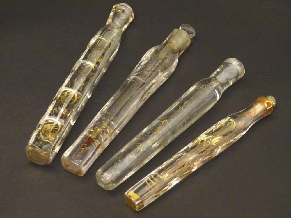 Haunton-Barron Scent Bottle Collection : a collection of 4 Georgian circa 1800 freeblown scent bottl