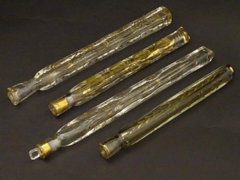 Haunton-Barron Scent Bottle Collection : 4 Georgian circa 1800 freeblown scent bottles, three with g