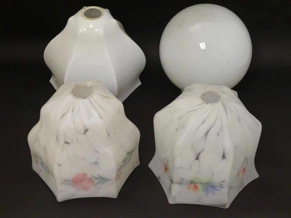 Light shades : a collection of 4 assorted light shades from the 1930's-50's , two of marbled glass a
