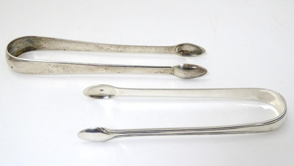 19thC Scottish silver sugar tongs, one maker RG the other AR? (2) (76g)