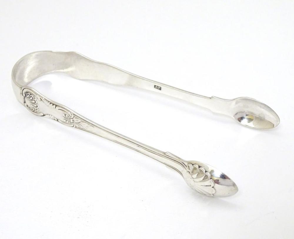 Geo IV silver King's pattern sugar tongs hallmarked London 1829  maker JP. 5 1/2'' long (62g)