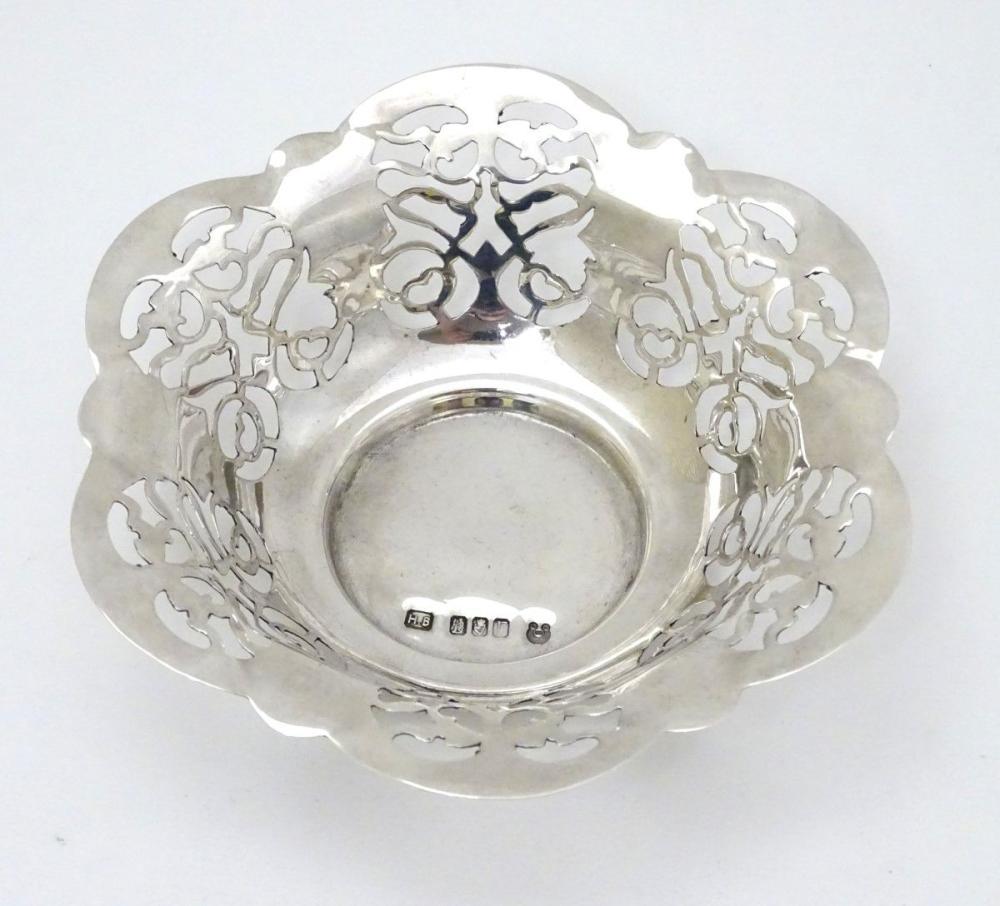 An Irish silver bon bon dish with pierced decoration, hallmarked Dublin 1973 maker HB ( with mark to