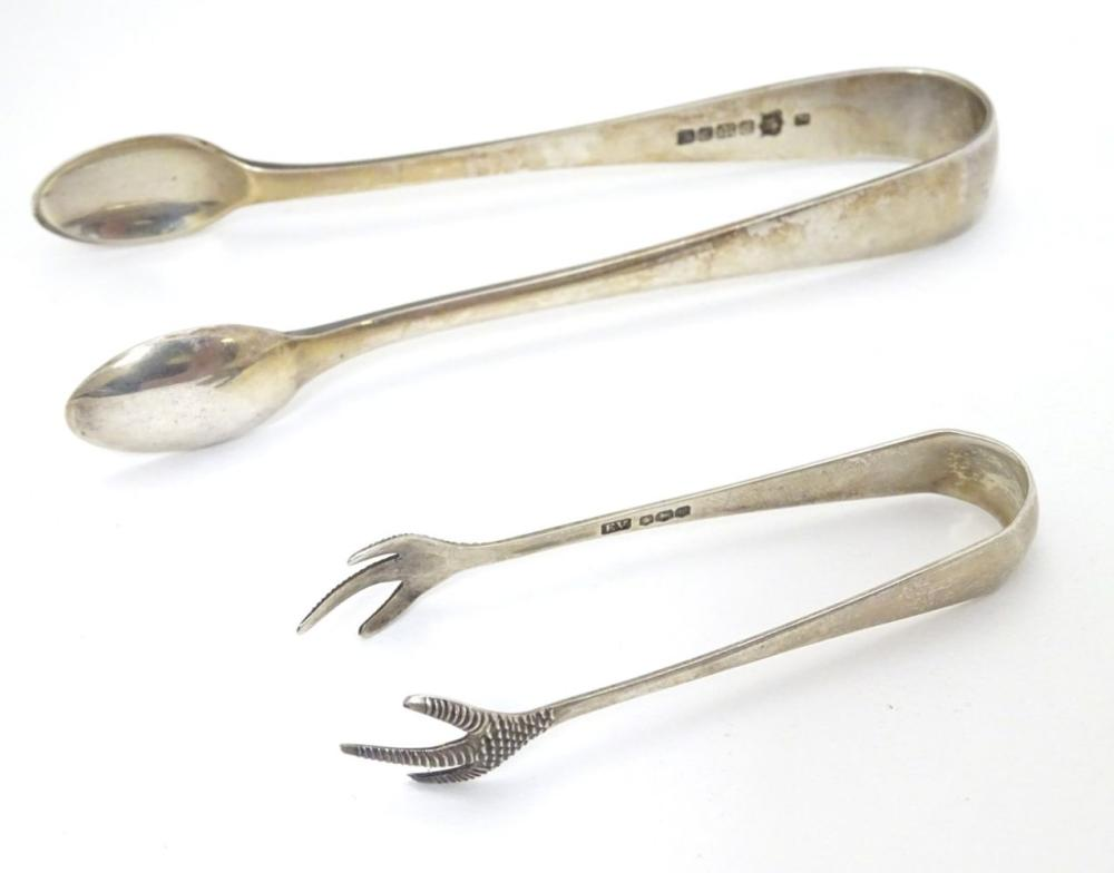 Silver sugar tongs with birds claw grips hallmarked Sheffield 1939 maker Viners Ltd together with si