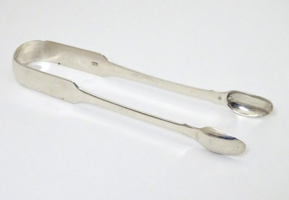 19thC silver fiddle pattern sugar tongs maker S.L 6'' long (38g)