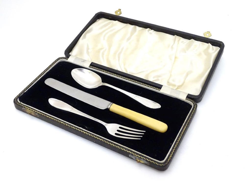A Christening set comprising fork and spoon hallmarked Birmingham 1937 maker Arthur Price & Co Ltd.