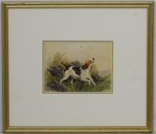 Charles Edward Britton (1870-1949), Canine School, Watercolour, Portrait of a Fox hound dog in the c