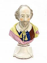 A 19thC pearlware pottery bust depicting