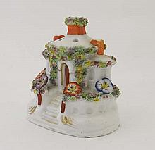 A 19thC cottage pastille burner, the round cottage