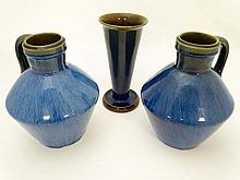Denby : two blue glazed two flagons and a blue