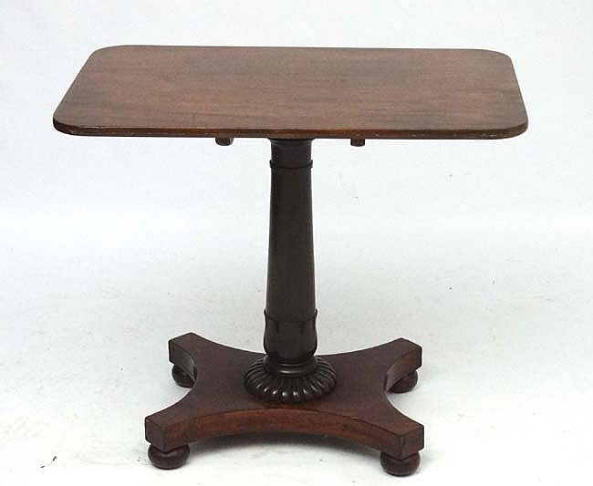 A regency mahogany pedestal table 33 39 39 wide x 20 3 4 39 39 deep for 12 wide table