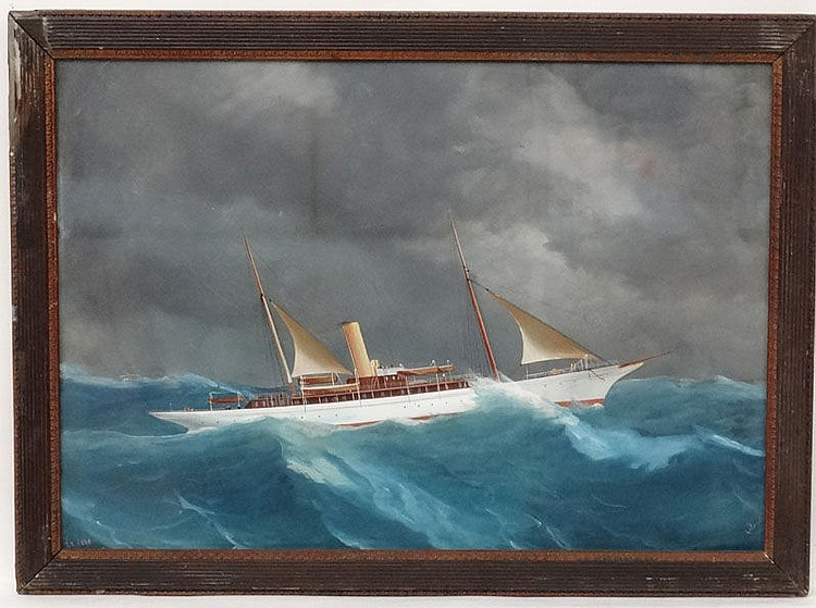 Antonio de Simone (c.1850-1920) ,Neapolitan Marine Portrait. Maritime Gouache 1903. Steam yacht S.Y Surf in a storm. Signed lower right , titled lower left and labelled verso. 17 x 25 1/2''