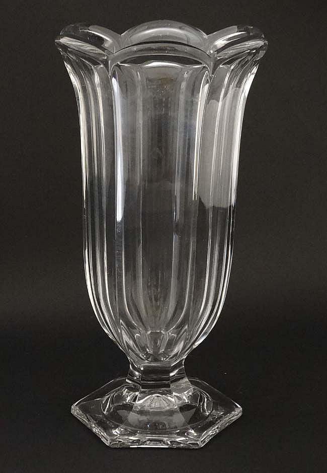 A Tall Glass Vase Celery Vase With Flared Rim 10 High