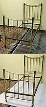 A pair of Victorian brass single beds. each approx  54 3/4'' high x 36'' wi