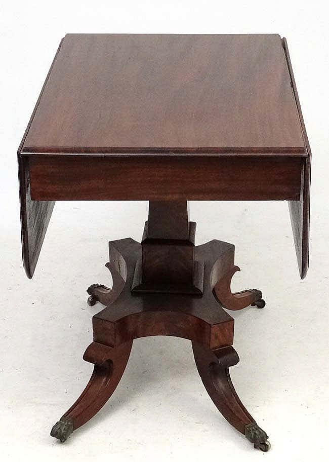 A 19thc mahogany pedestal sofa table 36 39 39 wide x 44 39 39 exten for Wide sofa table