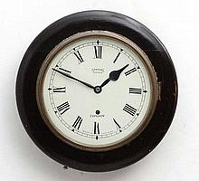 Smiths Enfield , London : an early 20thC 10'' dial Time piece clock with wi