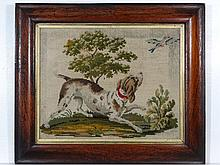 An early 19th Century woolwork of a gun dog