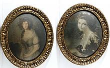A pair of superb Gilt framed oval coloured prints