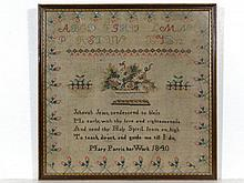 Sampler: Mary Parris...1840', a framed linen and