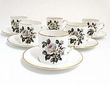 A set of 6 Royal Worcester '' Melissa '' demitasse / cups and saucers , dec