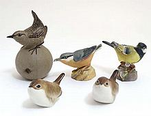 A collection of 5 ceramic birds, to include a Royal Worcester 'Nuthatch' in