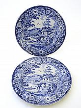 A pair of early 19th Century blue and white